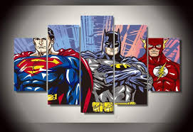 5 Panel Framed Printed Cartoon Superman Batman Flash Justice League Painting Childrens Room Decor Canvas Pictures