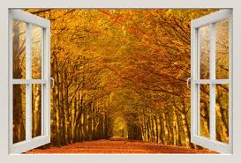Wall Mural Decals Nature by 3d Window Wall Decal For Living Room Autumn Parkbedroom