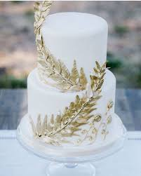 Gold Leaf Cake Detailing By Coquette Italian Themed WeddingsCountry
