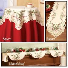 Halloween Mantel Scarf Pattern by Amazon Com Christmas Holiday Holly Berry Table Linens Ivory