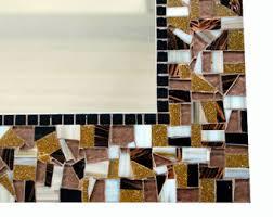 Brown Mosaic Bathroom Mirror by Mirror For Beach House Mosaic Wall Mirror In Sea Foam Green