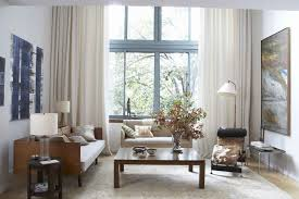 Casual Picture Of Living Room Decoration Using Large White Cream Curtain Including Rectangular Solid Light Oak Wood Coffee Table And High