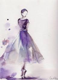 Ballerina Original Watercolor Painting Ballet Dance Art Purple Scale Medium Saint Petersburg Watercolors White Nights OnBeauty Paintings