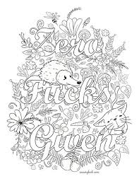Zero Fucks Given Swear Words Coloring Page From The By Swearybook