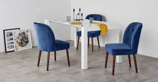2 x margot dining chairs electric blue velvet made com