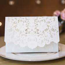 Elegant And Romantic White Laser Cut Wedding Invites