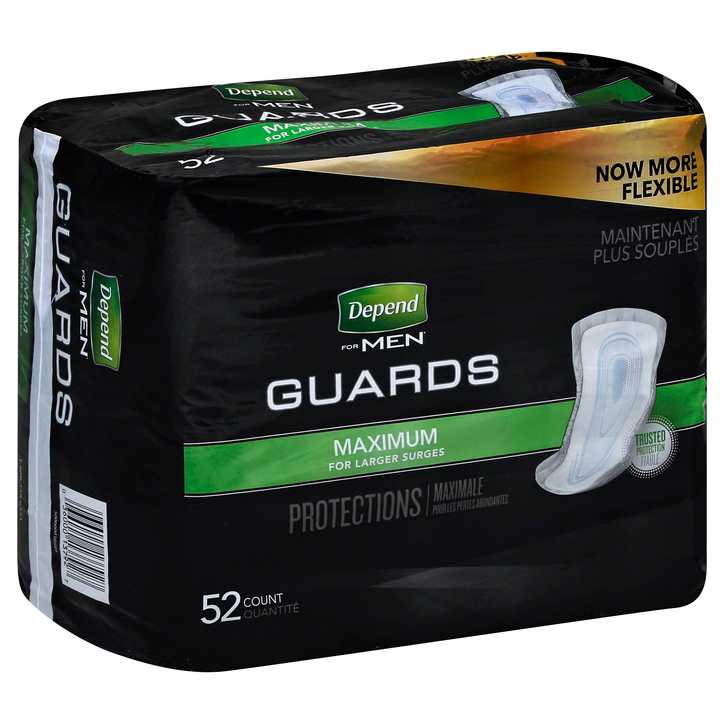 Depend for Men Maximum Absorbency Guards - 52ct