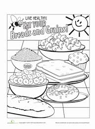 Kindergarten Coloring Worksheets Food Groups Page Breads And Grains
