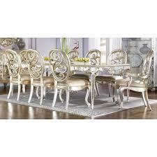 American Drew Jessica McClintock Silver Leaf 9pc Dining Table Set