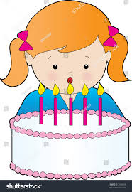 Girl With Birthday Cake Clipart · Young Girl Blowing Out Candles Stock Vector