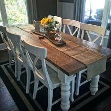 Farmhouse Dining Table With Bench Custom White Oak Room Style Farm Random 2