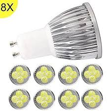 8 pack gu10 dimmable led bulbs 6 watts cool white 6500k energy