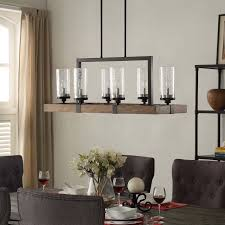 Shop The Gray Barn Vineyard Metal And Wood 6 Light Chandelier With Seeded Glass Shades