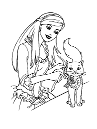 Barbie Princess With Cat Coloring Pages For Girls 225x300