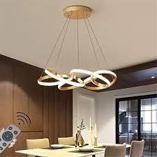 esszimmer hängele led dimmbar pendelleuchte kreatives golden rundring biegen hängeleuchte moderne kronleuchter küche schlafzimmer restaurant