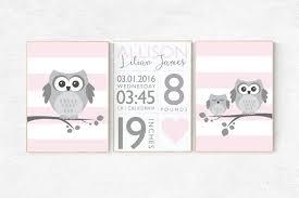 Baby birth stats Pink nursery decor owl nursery baby girl