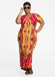 plus size dresses cold shoulder tribal print maxi dress