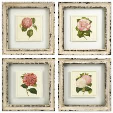 Pink Floral Flower Wall Art Prints Rustic Cream Frames
