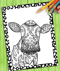 Digital Adult Coloring Book Page Cow