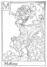 Letter M For Mallow Flower Fairy Coloring Page