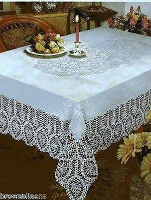 "Better Home New Crochet Vinyl Lace Tablecloth Oblong 60"" Wide x 108"" Long White"