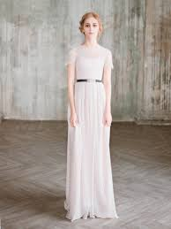 Short Sleeve Wedding Dress Ingoda Column With Lace Sleeves Chiffon Gown Modest Rustic Milamira
