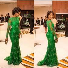 green lace nigerian evening gowns mermaid arabic dresses long