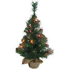 Northern Forest 2 Ft Green Burlap Pre Lit Christmas Tree