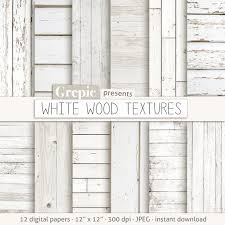 White Wood Digital Paper WHITE WOOD TEXTURES With Rustic