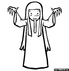 Scary Female Ghost Halloween Costume Coloring Page
