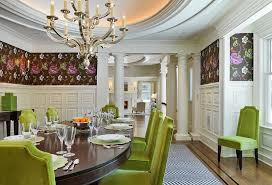 View In Gallery Green Dining Table Chairs Bring Cheerful Elegance To The Space Design Jan Gleysteen Architects