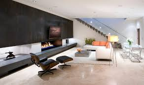 Fireplace Accent Wall Ideas Living Room Modern With Polished Beige Floor Concrete Sectional