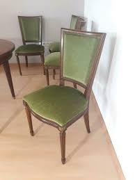 4 antike esszimmer stühle polster grün kirschbaum holz vintage