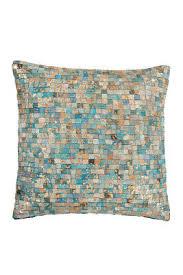 lederkissen dekokissen kissen patchwork couchkissen wohnzimmer türkis blau gold