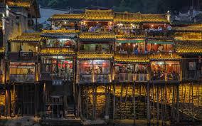 Landscape Urban Lights Restaurant People Gold Colorful