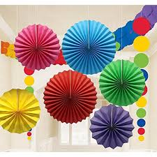 Colorful Hanging Paper Fans Decoration Round Pattern Garlands Set For Party Birthday Wedding Events Accessories