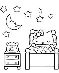 Hello Kitty Sleeps At Night Print Friendly
