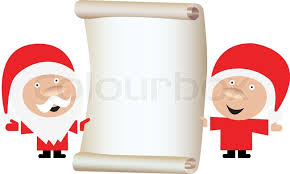 Santa s Wish List Santa Claus and wife holding blank paper scroll