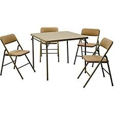 amazon com cosco 5 piece folding table and chair set tan