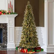 75 Slim Flocked Christmas Tree by Darby Home Co Pine 7 5 U0027 Green Slim Artificial Christmas Tree With