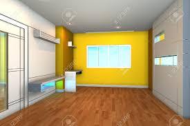 vide chambre intérieur vide pour chambre à coucher avec mur jaune banque d