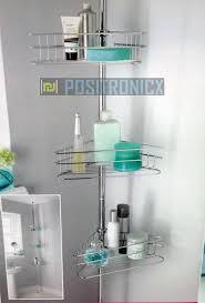 Floor To Ceiling Tension Rod Shelves by 3 Shelf Tension Rod Bathroom Corner Shelf Storage Unit Amazon Co