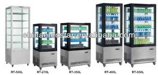 Energy Drink Display Beverage Cooler Refrigerator 4 Sided Glass Door Freezer