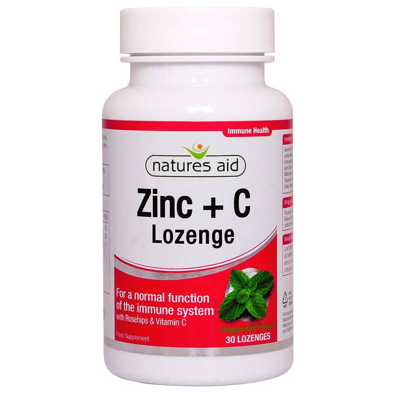 Natures Aid Zinc Lozenges - Peppermint, 30 Tablets
