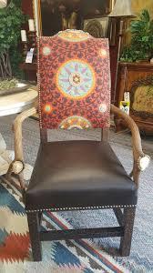 Elk Antler Tapestry Arm Chair Southwestern