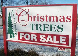 Sale Sign For Christmas Trees