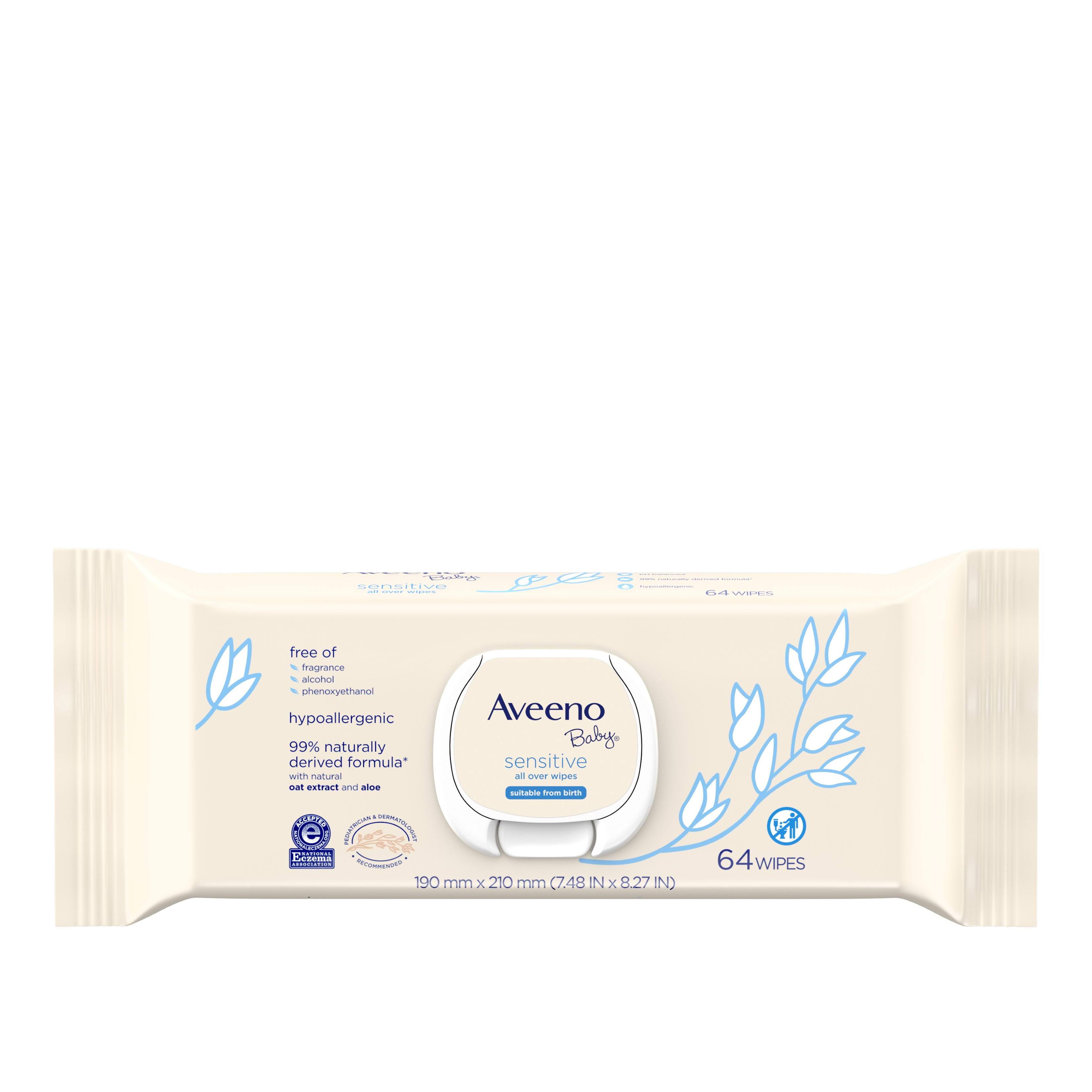Aveeno Baby Sensitive All Over Wipes - 64 ct
