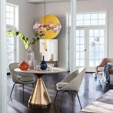 Silhouette Pedestal Dining Table Round White Marble