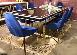 casa padrino luxus esszimmer set blau weiß gold 1 esszimmertisch 6 esszimmerstühle luxus esszimmer möbel