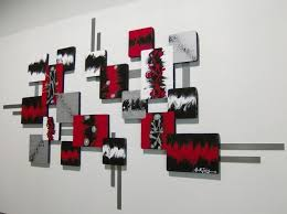 Black Abstract Walls Painting With The Combination Of Red White Wall DecorRed Bedroom